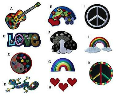 Peace Love Hippy Embroidered Iron On Sew On Patches Badges Transfers Fancy Dress • 2.99£