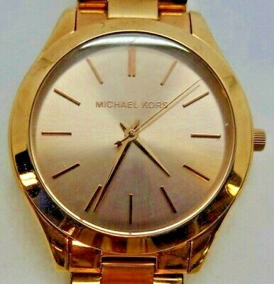 21e0700acb9f Michael Kors MK3197 Women s Rose Gold Tone Analog Watch Size 5 3 4 Used •