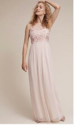 469d7f7792fad BHLDN Anthropologie Full Length Tulle Embroidered Blush Dress Wedding Prom  Sz 10 • 99.99$