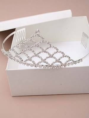 Gorgeous New Boxed Combed Crystal Peaked Tiara Bridal Bridesmaid Prom Headpiece • 4£