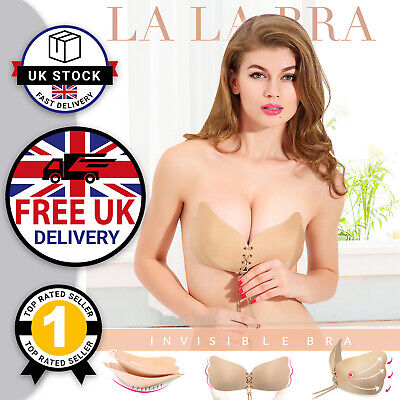 Invisible Push Up Strapless Bra Women Silicone Stick On Backless Bra Nude New UK • 2.99£