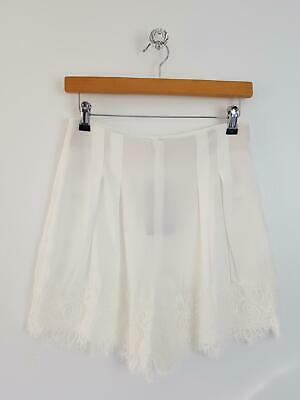New Zara Woman Size Small /uk 8 Cream White Lace Woven Sheer High Waisted Shorts • 15£