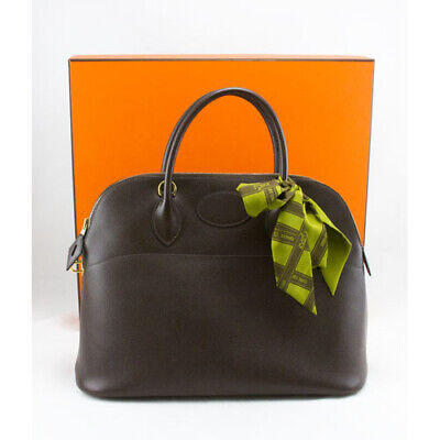 db8ac37d8c2a HERMES Brown 35cm Epsom Gold Bolide Bag W twilly   Duster • 3