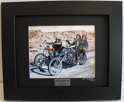 $64.95 • Buy Easy Rider Harley Ltd Edition Signed Framed Motorcycle Art Print, Painting By JG