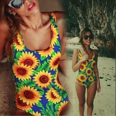 £10.39 • Buy Woman Padded Monokini Sunflower Printed Back Hollow Out Bandage Swimsuit S-XL