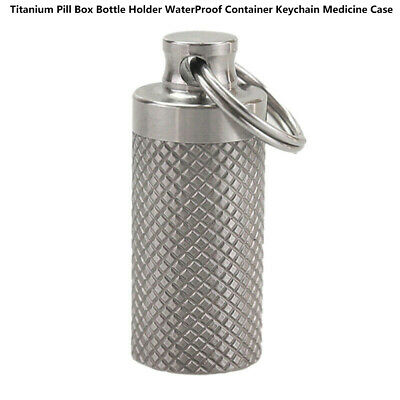 $4.09 • Buy Waterproof Pill Box Case Holder Container Titanium Capsule Bottle Keychain MA