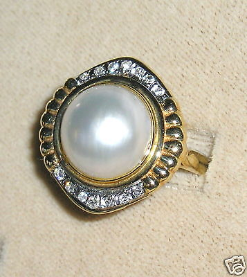 $279 • Buy SOLID     14K  Gold     MABE   Pearl   DIAMOND     Ring