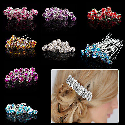 Rose Flower Crystal Diamante Hair Pins Wedding Bridesmaid Prom Party Clips Grips • 3.03£