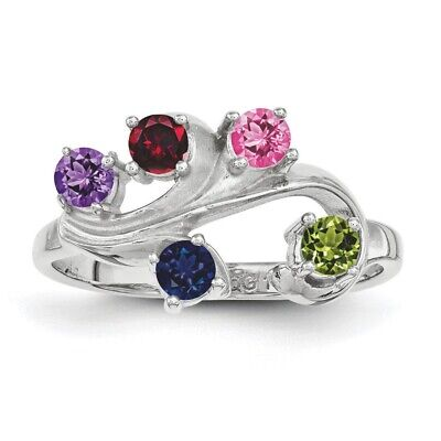 $70 • Buy Family Tree Birthstone Ring 1- 5 Stones Sterling Silver, Mothers Day Rings