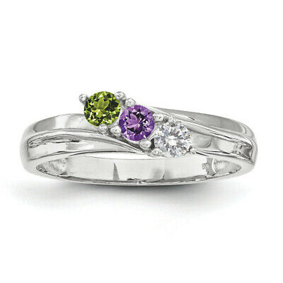 $75 • Buy Custom Birthstone Rings 1- 4 Stones Sterling Silver, Mothers Day Jewelry Ring