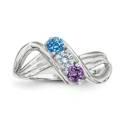 $75 • Buy Custom Birthstone Rings 1- 3 Stones Sterling Silver, Mothers Day Jewelry Ring