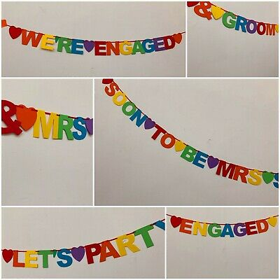 £4.39 • Buy Personalised LGBT Engagement Party Banner Decorations Hen Do Rainbow Bunting