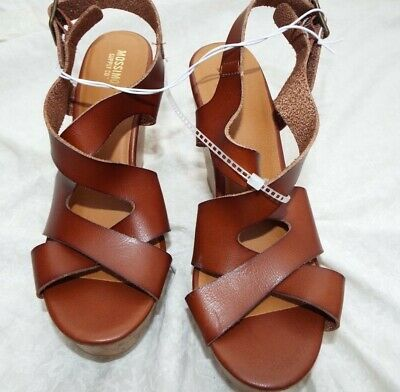 2da4570a989 NWOB Mossimo Supply Co Cognac Brown Strappy Cork Wedge Sandals Size 7 Or 9.5  •