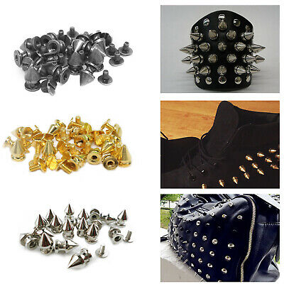 7mm X 9.5mm Spike Punk Cone Screw Back Studs Rivets Brass For Leather Art Crafts • 6.99£
