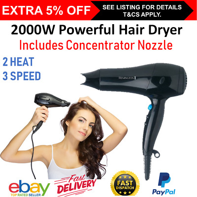 AU39.90 • Buy Remington Hair Dryer Powerful Hairdryer 2000W Blow Dryer Womens Hair Dryer