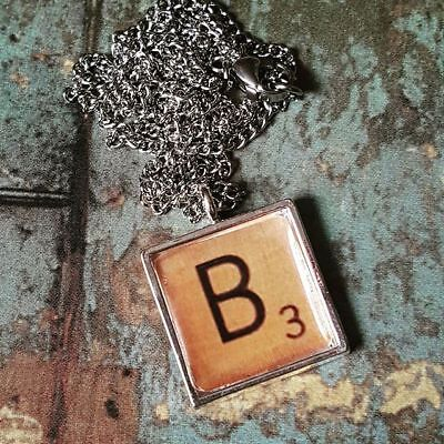 £6.99 • Buy Handmade SCRABBLE LETTER NECKLACE Chrome NAME Personalised INITIAL Choose TILE
