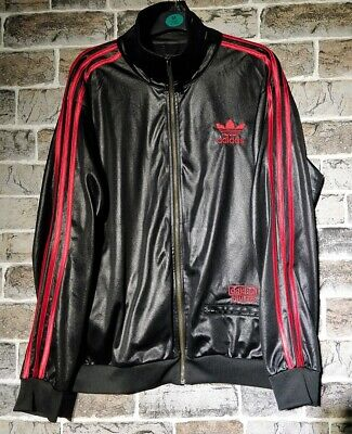 d30d18807f6  Mens  M ADIDAS CHILE 62 Jacket Black   Red GLANZ WET LOOK RETRO MENS