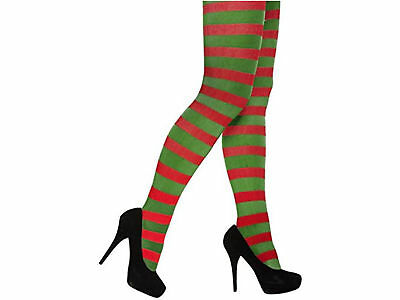 Elf Red And Green Striped Tights Christmas Fancy Dress Costume Santa's Helper  • 2.90£