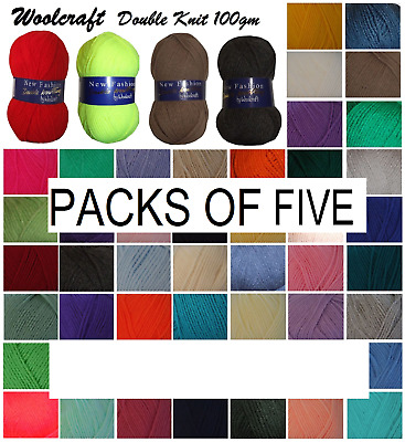 Woolcraft DK Wool Yarn New Fashion Double Knit Knitting & Crochet PACKS OF FIVE • 9.99£