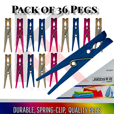 £3.79 • Buy 36 Super Strong Clothes Pegs Clip Washing Line Airer Dry Line Plastic Peg Garden