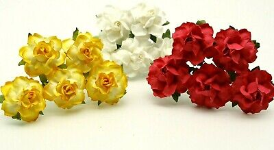 £2.99 • Buy 10 Mulberry Paper Roses Flowers 3.75cm Large Varied Colours Card Making Wedding