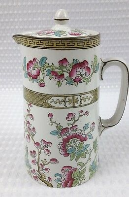 Antique Sampson Bridgwood Indian Tree 19cm Hot Water  / Coffee Jug Pot Floral  • 16£