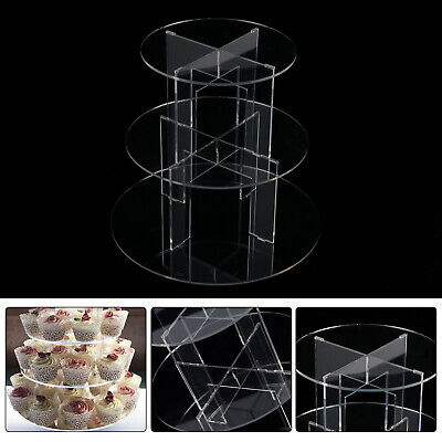 £10.39 • Buy Clear Acrylic Round Cupcake Stand Display Wedding&Party 3 Tier Cup Cake Holder