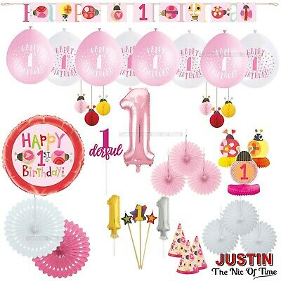 First 1st Birthday Girls Pink Ladybug Party Supplies Decorations Banner Balloons • 2.35£