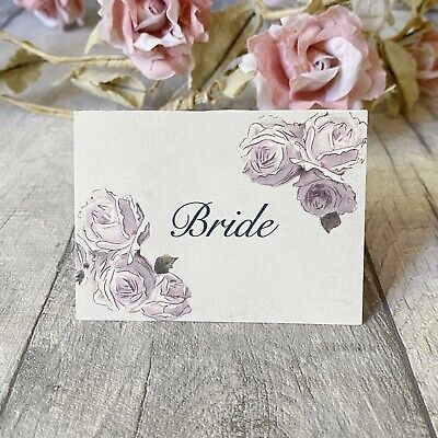 £3.50 • Buy Wedding Table Guest Place Name Cards - Lilac Rose Vintage Style - Set Of 10