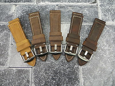 24mm Leather Strap Brown Tang Buckle Assolutamente Watch Band Pam 1950 5C II • 20.91£