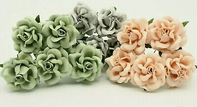 £3.49 • Buy Mulberry Paper Roses Flowers 5cm Large Varied Colours Card Making Wedding