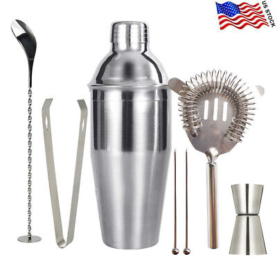 7 Pieces 25 Ounce Cocktail Shaker Bartender Kit Professional Barware Stainless • 13.99$