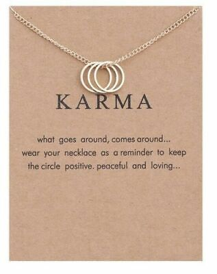 Karma Necklace & Message On Card, Gold Tone,  Same Day Free  Post • 2.99£