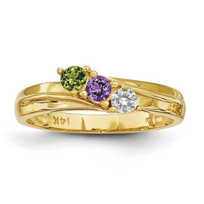 $260 • Buy 14K Solid Gold Mother's Ring 1 To 4 Birthstones, Moms Family Jewelry Ring