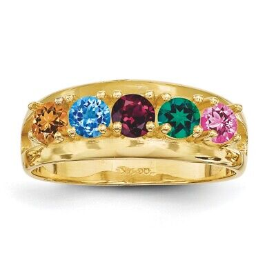 $260 • Buy Mothers Ring 14K Solid Gold 1 To 6 Round Birthstones, Mother Day Rings