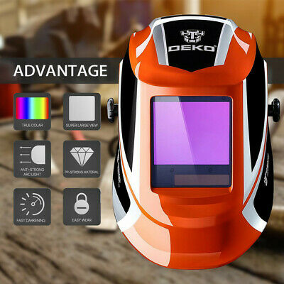 $ CDN73.57 • Buy  Pro Solar Auto Darkening Welding Helmet Arc Tig Mig Mask Grinding Welder Orange