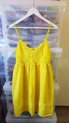 Topshop Dress Yellow Skater Cami Summer Floral Lace Short Mini Womens Size Uk 10 • 20£