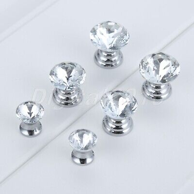£4.08 • Buy Glass Diamond Crystal Dresser Knobs Jewelry Box Case Drawer Cabinet Pull Handle