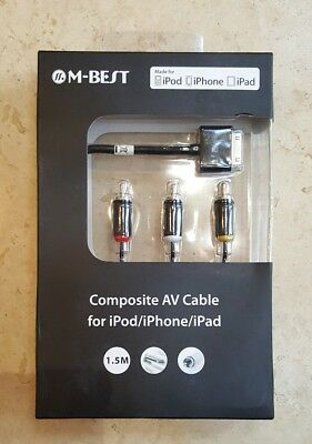 Composite AV Cable To TV RCA Connection Kit  For  IPod IPad 2/3, IPhone 4/4S 3GS • 4.99£