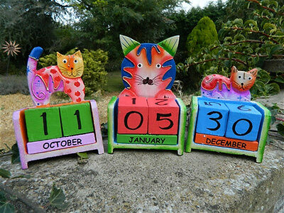 Wooden Perpetual Calendar Carving - Hand Carved Cat Designs • 9.99£
