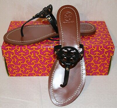 d4ee7246a Tory Burch Mini Miller Flat Sandals Perfect Black Leather Size 8.5  225 •  169.99