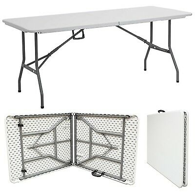 Plastic Table  Heavy Duty 1.8m White Folding 6ft Foot Camping Trestle Market Bbq • 34.95£