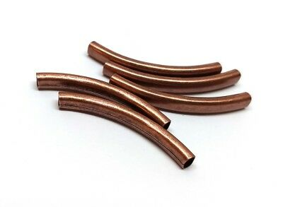 $3.65 • Buy 6 Pcs Antique Copper Noodle Oval Tube Long Thin Smooth Curved Beads - 42mm X 6mm
