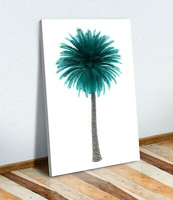 CANVAS WALL ART PRINT ARTWORK 30MM DEEP FRAME  Teal Black And White Palm Tree • 16.99£