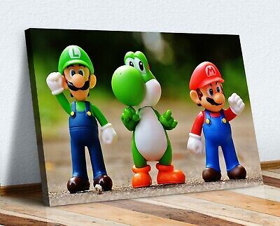 CANVAS WALL ART PRINT ARTWORK 30MM DEEP FRAME  Super Mario Characters • 16.99£