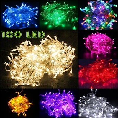 $6.50 • Buy 100 LED String Fairy Lights Clear Wires Party Wedding Xmas Dorm Room Decor