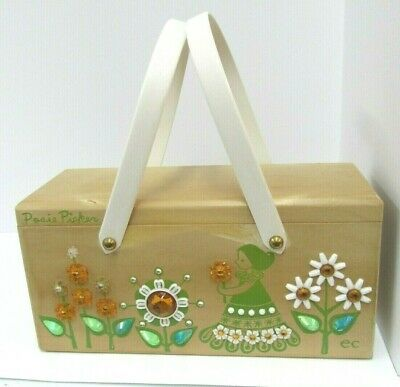 $29.95 • Buy  Box Bag Wood Purse 1960'S LOGOS EC  AND COLLINS OF TEXAS POSIE PICKER