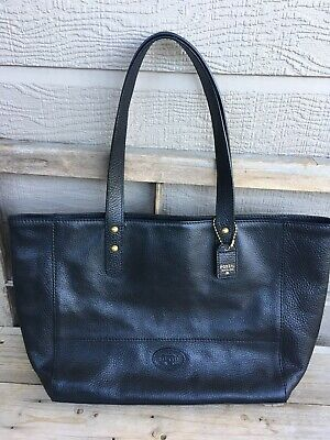 abf3ed22a FOSSIL Sydney Black LARGE Leather Tote Bag Laptop CarryAll Reissue 1954 •  35.00$