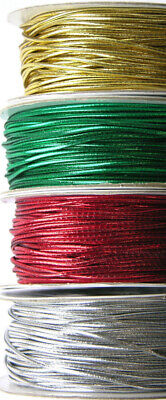 $ CDN7.34 • Buy 1.2 Mm RED SILVER GREEN GOLD ELASTIC LUREX STRETCH CORD SWING TAGS GIFT WRAPPING