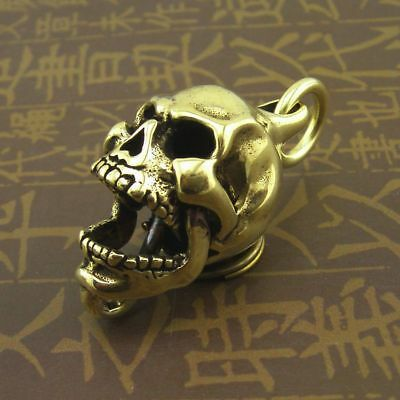 Brass Active Joint Skull Metal Keychain Fob Pendant Mens Key Ring Chains Charms • 7.90£